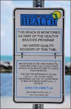 Florida Department of Health Swimming Advisory Sign