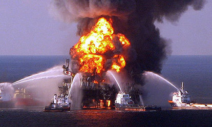 The Deepwater Horizon rig burns the day it exploded in 2010.