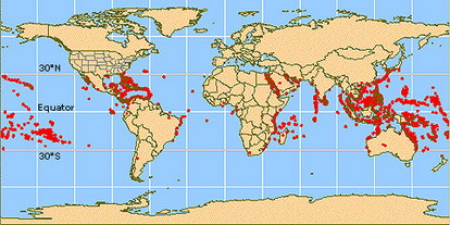The red dots on this map show the location of major stony coral reefs of the world.