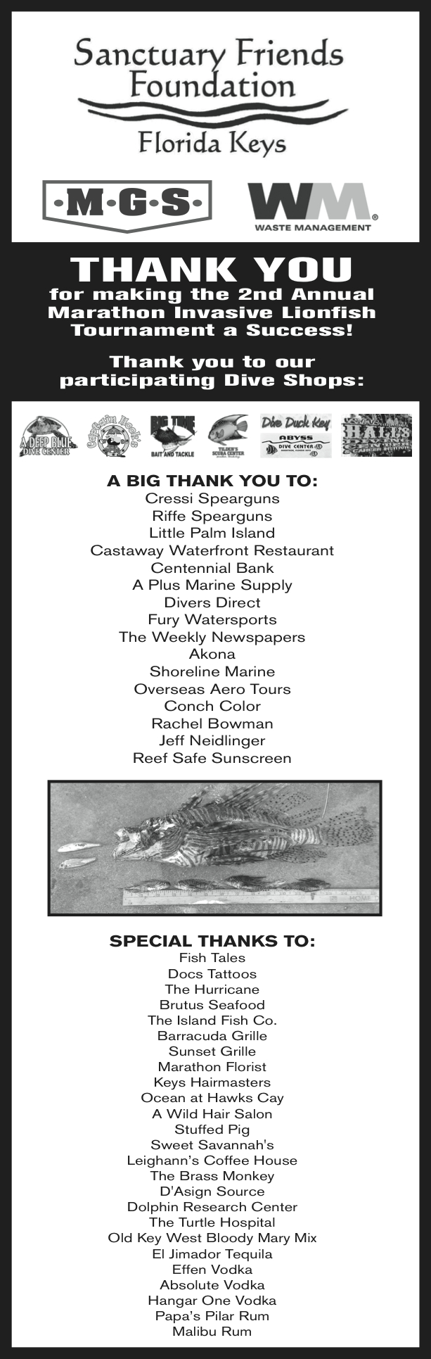 Thank you for making the Second Annual Marathon Invasive Lionfish Tournament a success!